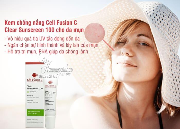 Kem chống nắng Cell Fusion C Clear Sunscreen 100 cho da mụn 3