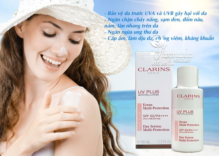 Kem chống nắng Clarins UV Plus Anti-Pollution Rosy Glow Pháp 3
