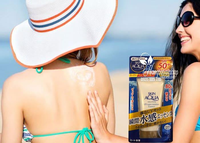 Kem chống nắng Rohto Skin Aqua UV Super Moisture Essence 80g 4