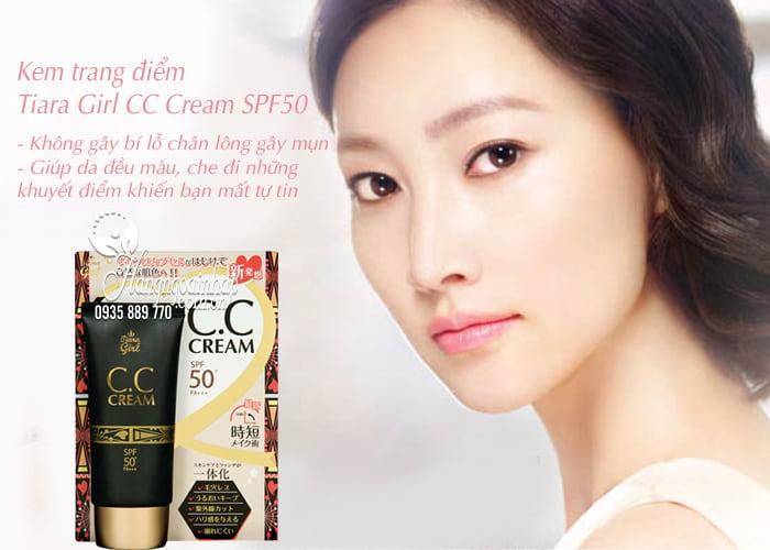 Kem trang điểm Tiara Girl CC Cream SPF50 Nhật Bản tuýp 50ml 3