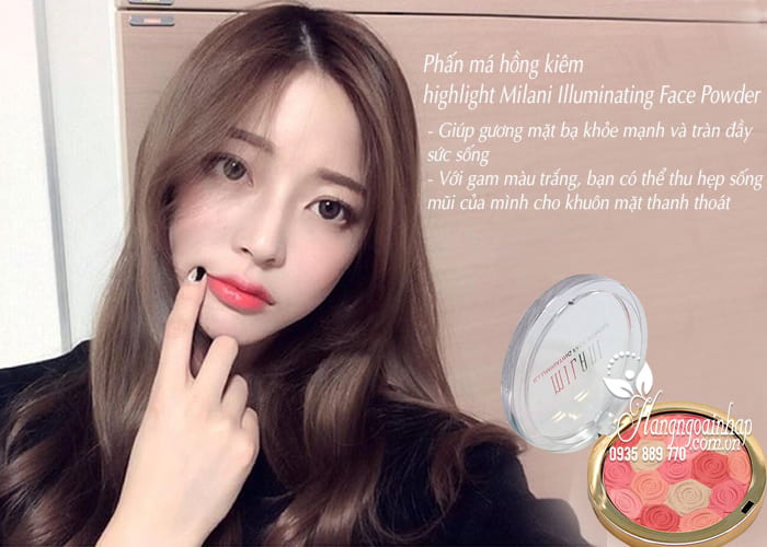 Phấn má hồng kiêm highlight Milani Illuminating Face Powder 4