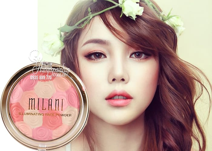 Phấn má hồng kiêm highlight Milani Illuminating Face Powder 3