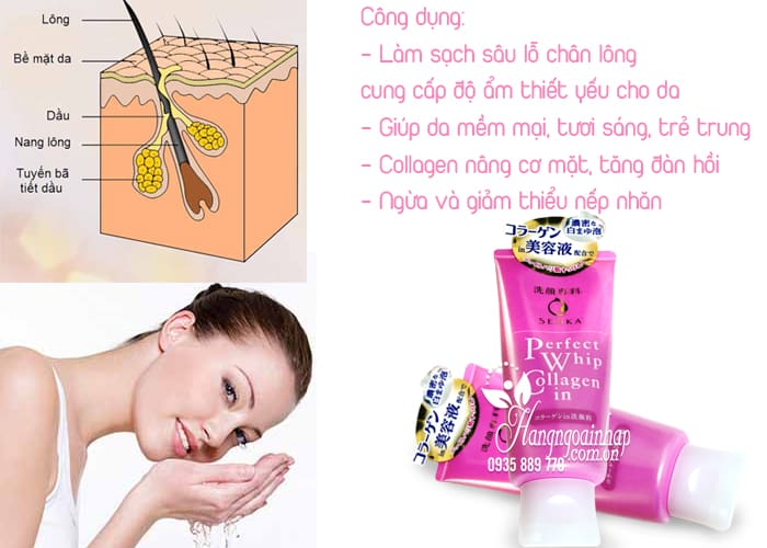 Sữa rửa mặt Shiseido Senka Perfect Whip Collagen in 120g 2