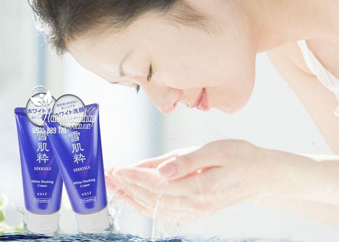 Sữa rửa mặt trắng da Kose Sekkisui White Washing Cream 80g 5