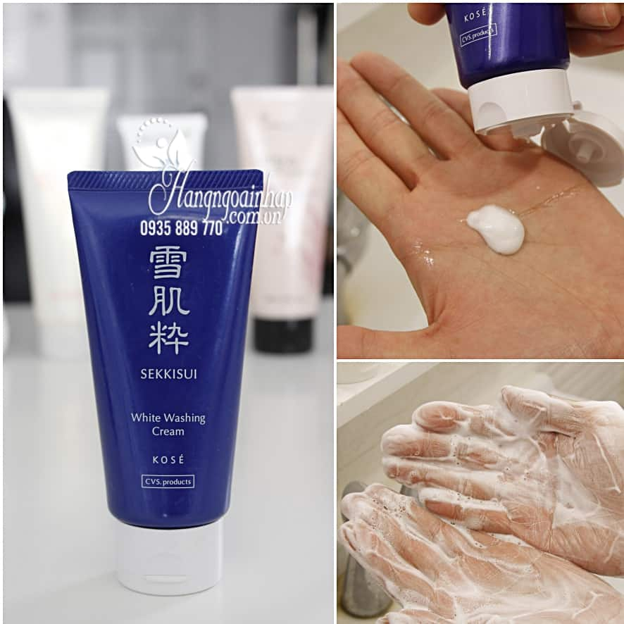 Sữa rửa mặt trắng da Kose Sekkisui White Washing Cream 80g3