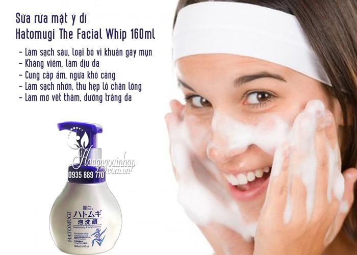Sữa rửa mặt ý dĩ Hatomugi The Facial Whip 160ml chai có vòi 2