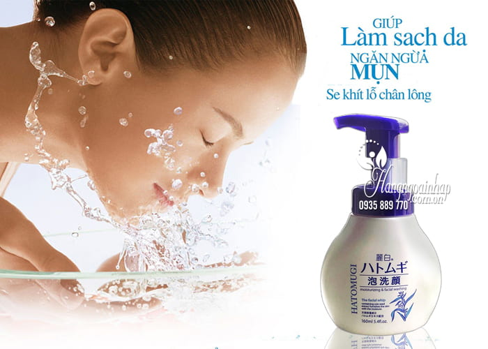 Sữa rửa mặt ý dĩ Hatomugi The Facial Whip 160ml chai có vòi 3