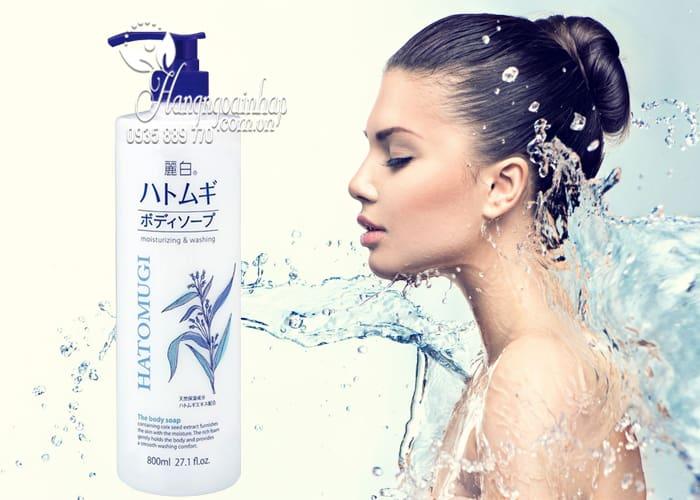 Sữa tắm dưỡng ẩm trắng da Hatomugi Moisturizing Washing 800ml 3
