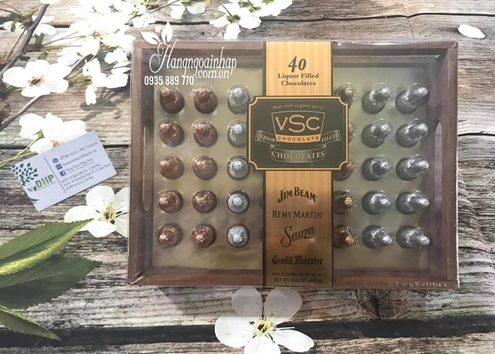 Socola nhân rượu hộp gỗ Jim Beam Remy Martin VSC 40 chai của Mỹ (1)