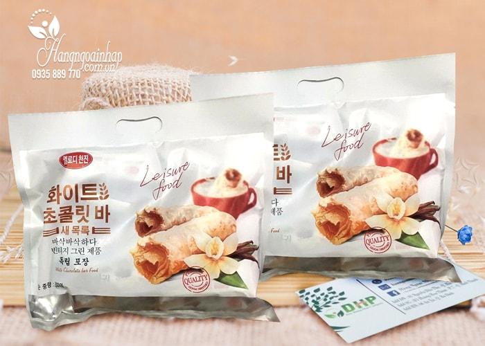 Bánh yến mạch phủ socola trắng Leisure Food 300g của Hàn Quốc