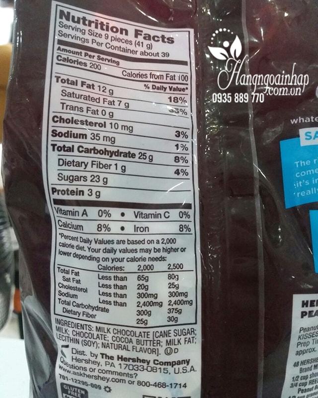 Kẹo Chocolate Hershey's Kisses Milk Chocolate Gói 1,58 Kg Của Mỹ