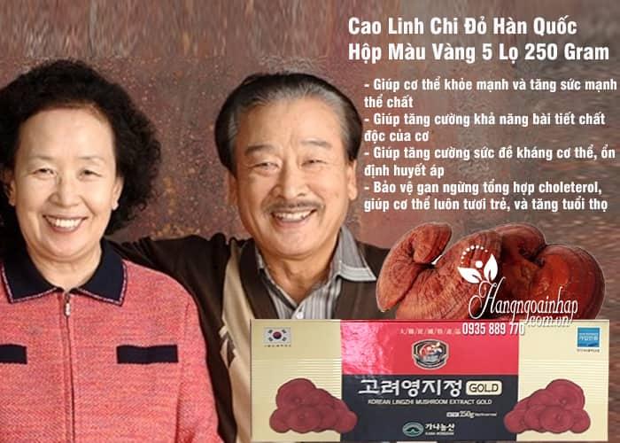 Cao Linh Chi Đỏ Hàn Quốc Hộp Màu Vàng 5 Lọ 250 Gram 2
