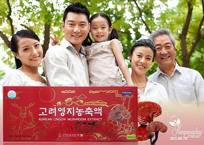 Cao linh chi Hàn Quốc Korean Lingzhi Mushroom Extract, hộp 5 lọ
