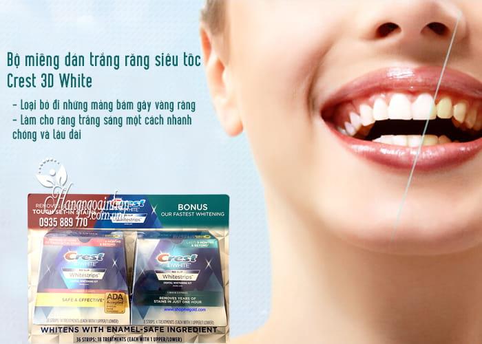Bộ miếng dán trắng răng siêu tốc Crest 3D White của Mỹ 3