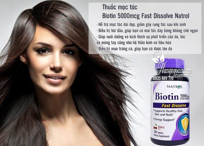 Thuốc mọc tóc Biotin 5000mcg Fast Dissolve Natrol của Mỹ 250 viên 4 5