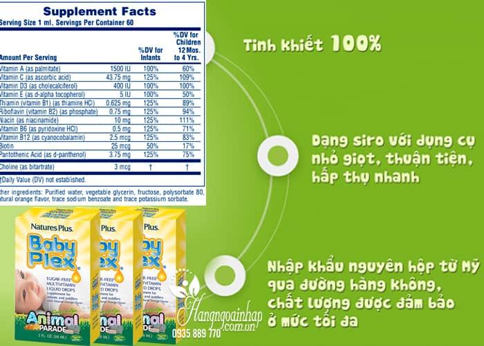 Vitamin cho bé Natures Plus Baby Plex Animal Parade 60ml của Mỹ (2)