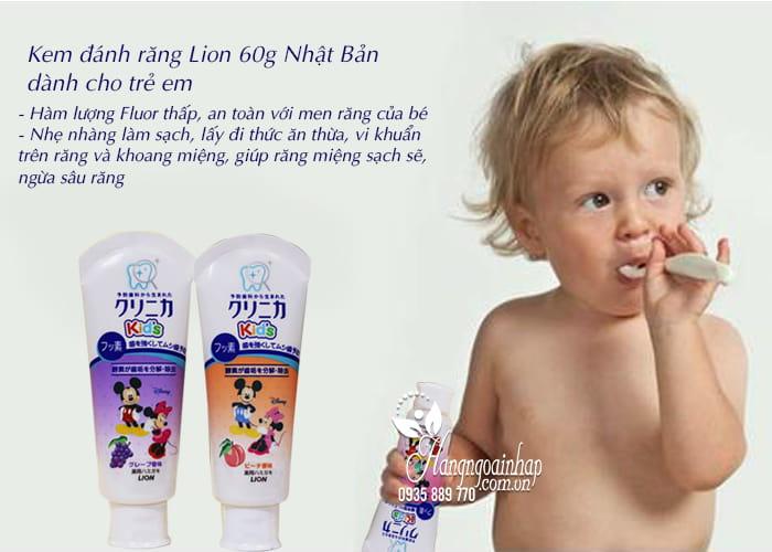 Kem đánh răng Lion 60g Nhật Bản dành cho trẻ em 3