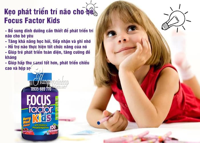 Kẹo phát triển trí não cho bé Focus Factor Kids 150 viên của Mỹ 2