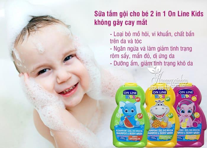 Sữa tắm gội cho bé 2 in 1 On Line Kids không gây cay mắt 3