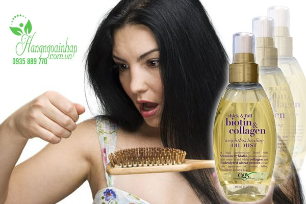Dầu xịt phun sương trị rụng tóc Organix Thick & Full Biotin & Collagen