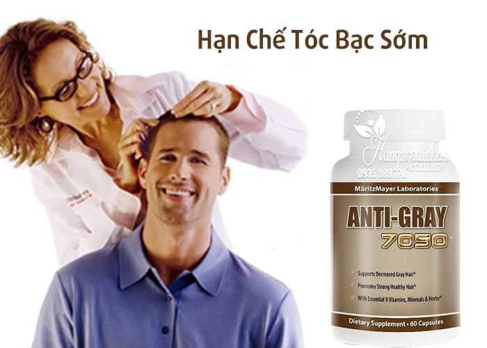 Viên uống trị tóc bạc sớm Anti Gray 7050 hộp 60 viên nhập từ Mỹ
