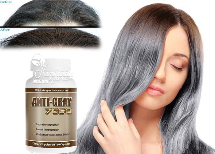 Viên uống trị tóc bạc sớm Anti Gray 7050 hộp 60 viên chính hãng từ Mỹ