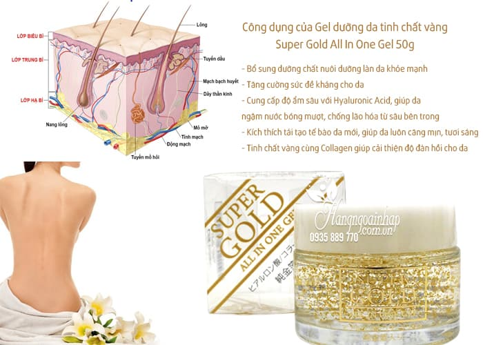 Kem dưỡng da tinh chất vàng Super Gold All In One Gel 50g của Nhật Bản (2)