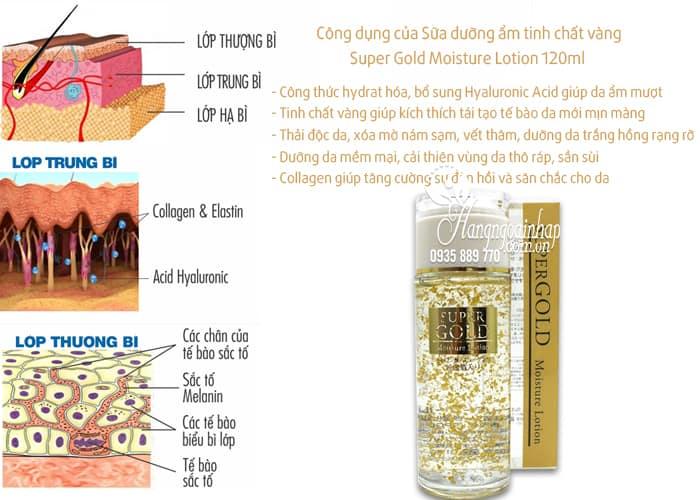Sữa dưỡng ẩm tinh chất lá vàng Super Gold Moisture Lotion 120ml của Nhật Bản (2)