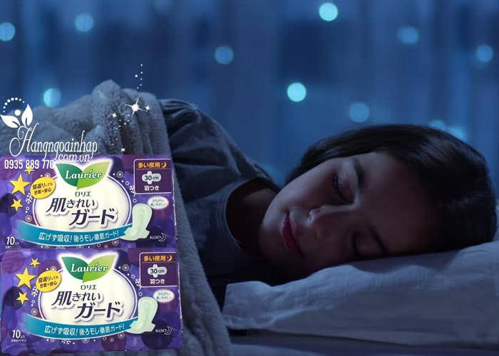 Băng vệ sinh ban đêm Laurier có cánh 30cm của Nhật Bản 4