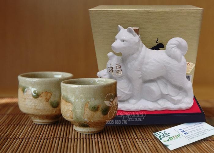 Chai rượu Sake hình con chó trắng Hachiko 720ml Nhật Bản (2)