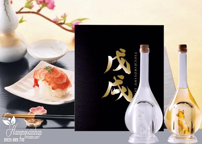 Set 2 chai rượu hình chó vàng, chó bạc Sake Yatsushika 500ml Nhật Bản