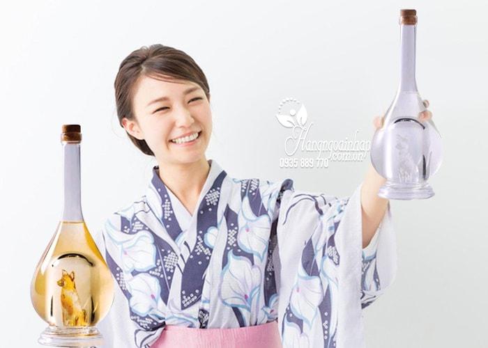 Set 2 chai rượu hình chó vàng, chó bạc Sake Yatsushika của Nhật Bản