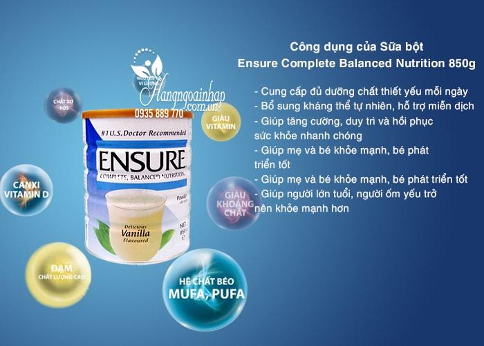 Sữa bột Ensure Complete Balanced Nutrition 850g nhập từ Singapore chính hãng