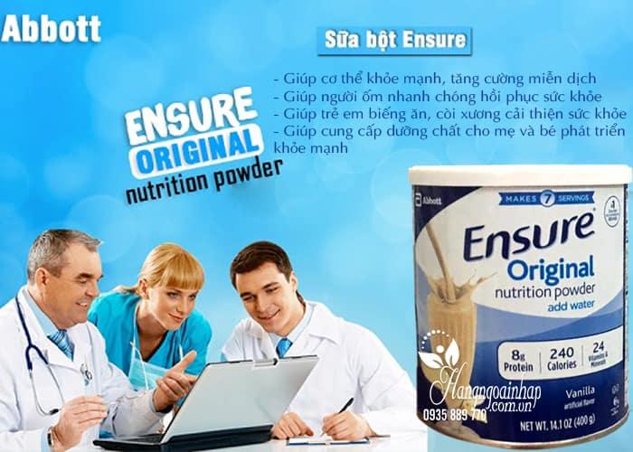 Sữa bột Ensure Original Nutrition Powder hộp 400g của Mỹ 4