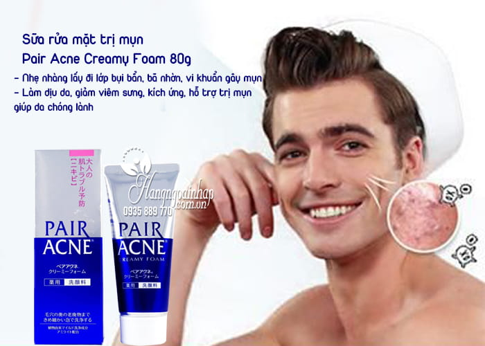 Sữa rửa mặt trị mụn Pair Acne Creamy Foam 80g của Nhật Bản 2