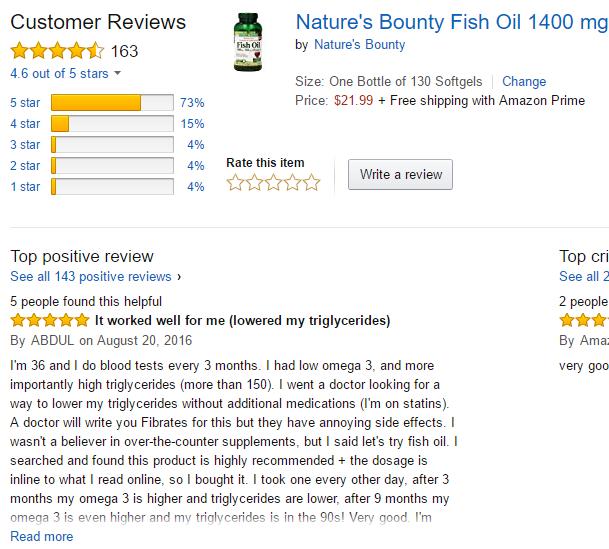 Dầu cá Natures Bounty Fish Oil 1400mg 130 viên - Tốt cho tim mạch
