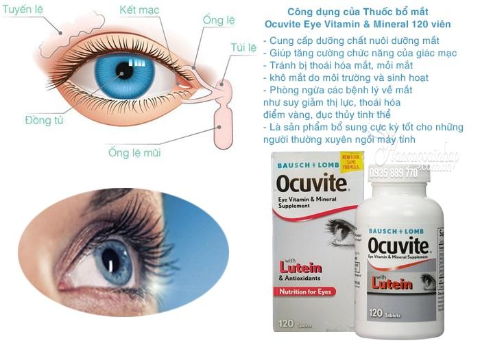 Thuốc bổ mắt Ocuvite Eye Vitamin & Mineral with Lutein 120 viên chính hãng từ Mỹ