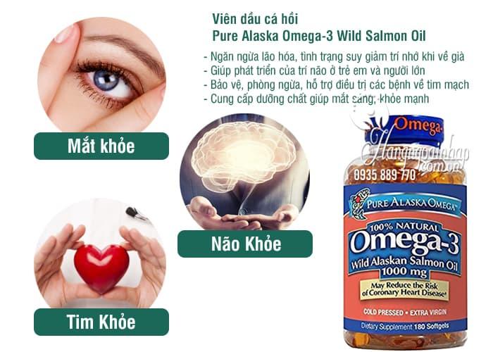 Viên dầu cá hồi Pure Alaska Omega-3 Wild Salmon Oil 1000mg của Mỹ