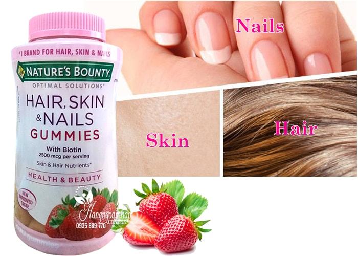 Kẹo dẻo Hair, Skin and Nails Gummies 230 viên của Mỹ