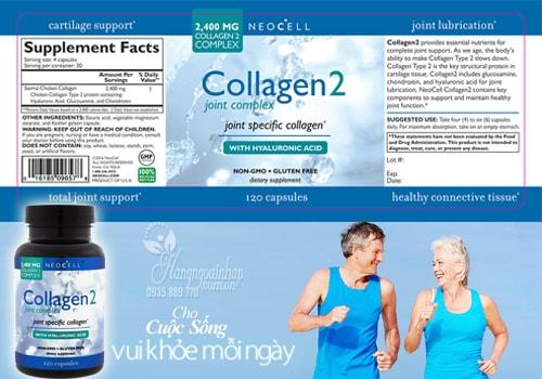 Neocell Collagen type 2 không biến tính của mỹ 120 viên