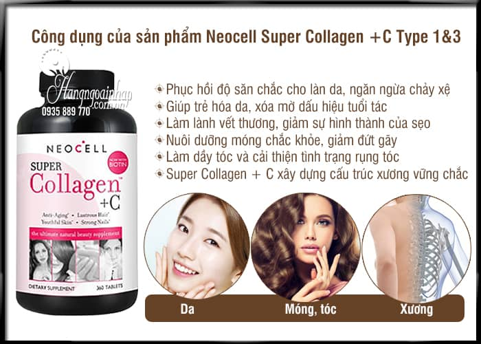 Neocell Super Collagen +C Type 1&3 360 Viên của Mỹ, giá tốt 4