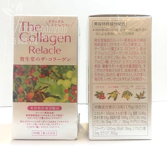 Thành phần của The Collagen Relacle Shiseido dạng viên