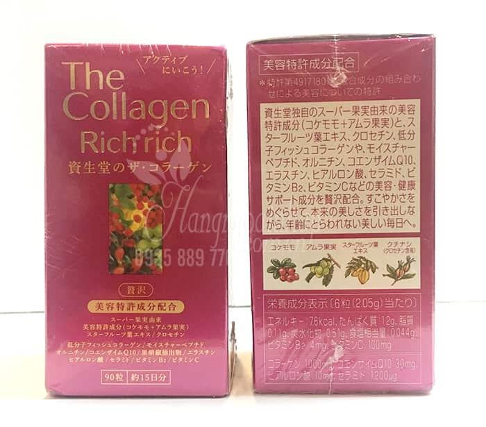 Thành phần của The Collagen Rich Rich Shiseido dạng viên