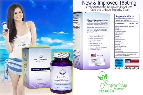 Dưỡng trắng da với Relumins Advance White 1650mg Glutathione Complex 90 viên