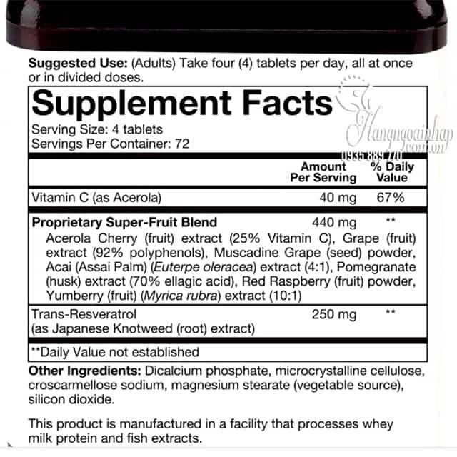 Viên uống chống lão hóa Resveratrol Youtheory 290 viên Mỹ 2