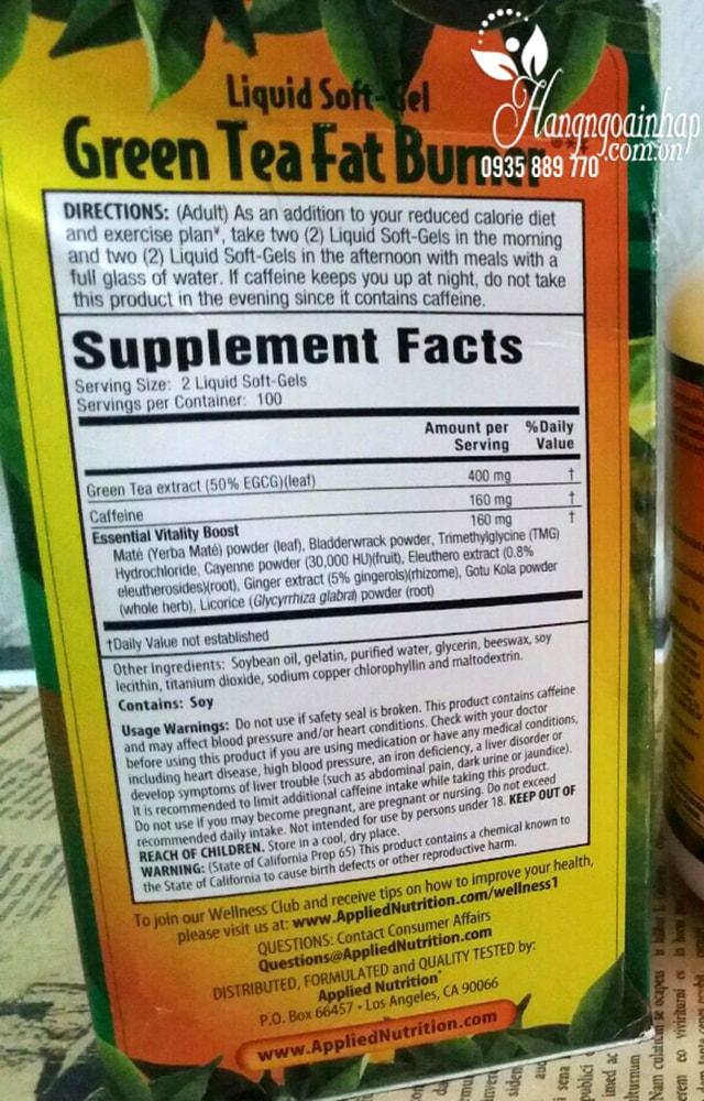 Thuốc giảm cân Trà Xanh Green Tea Fat Burner 400mg 200 viên của Mỹ