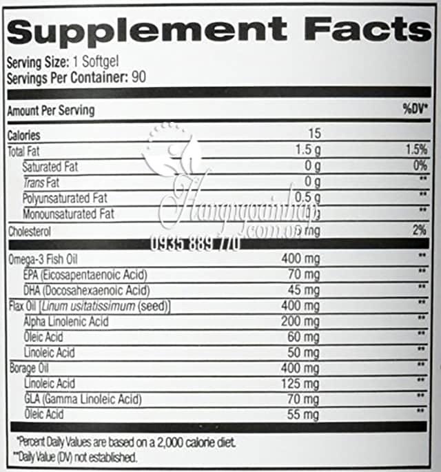 Viên uống Omega 3 6 9 Complex 1200mg Natrol 90 viên của Mỹ  2