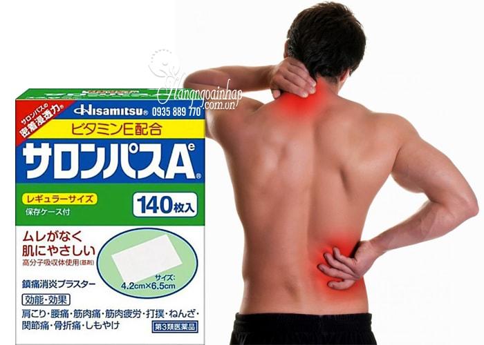 Cao dán giảm đau xương khớp Salonpas Hisamitsu 140 miếng của Nhật Bản
