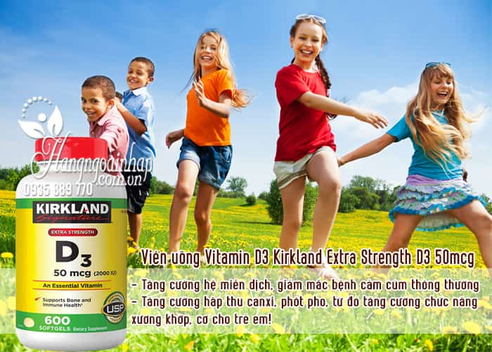 Viên uống Vitamin D3 Kirkland Extra Strength D3 50mcg của Mỹ 3