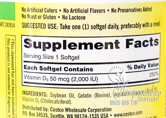 Viên uống Vitamin D3 Kirkland Extra Strength D3 50mcg của Mỹ 4